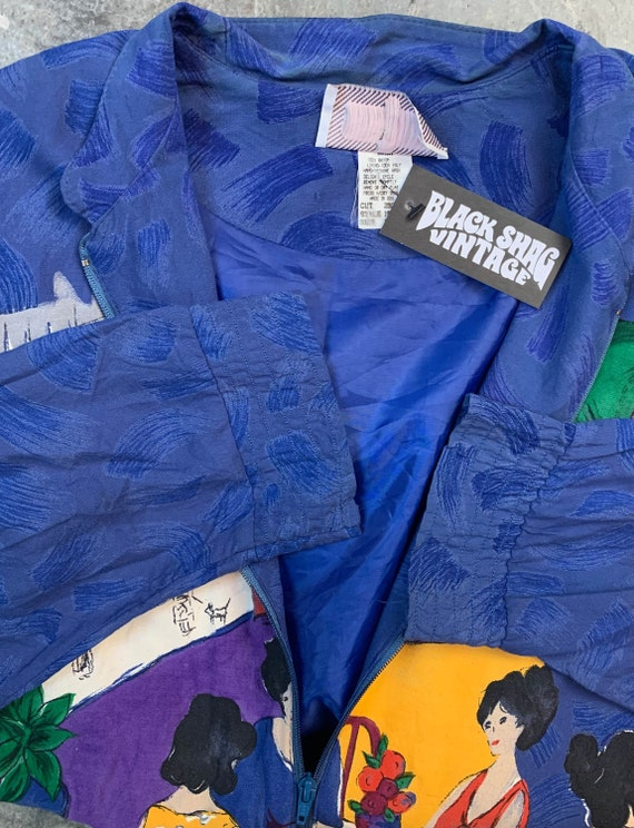 Vintage 80's Starfire Bomber Jacket Silk Rayon We… - image 6