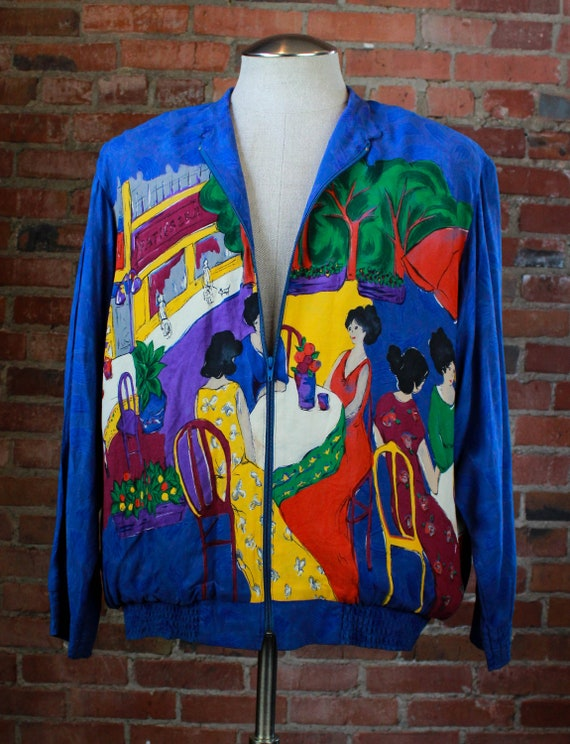Vintage 80's Starfire Bomber Jacket Silk Rayon We… - image 2