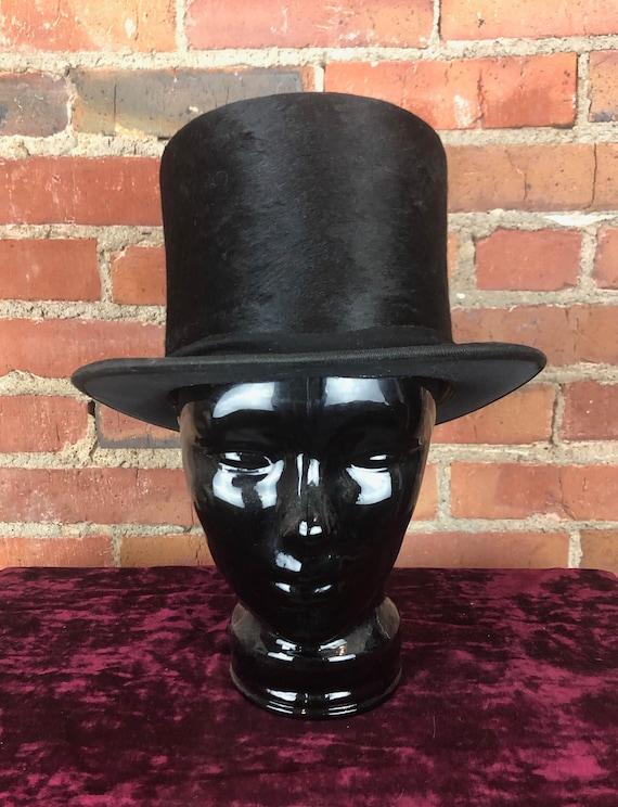 Vintage 30's Black Beaver Top Hat - Medium