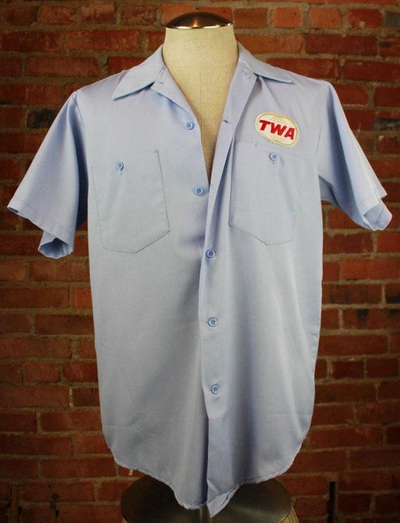 Men's Vintage 80's TWA Lee Mechanic Work Shirt Sho