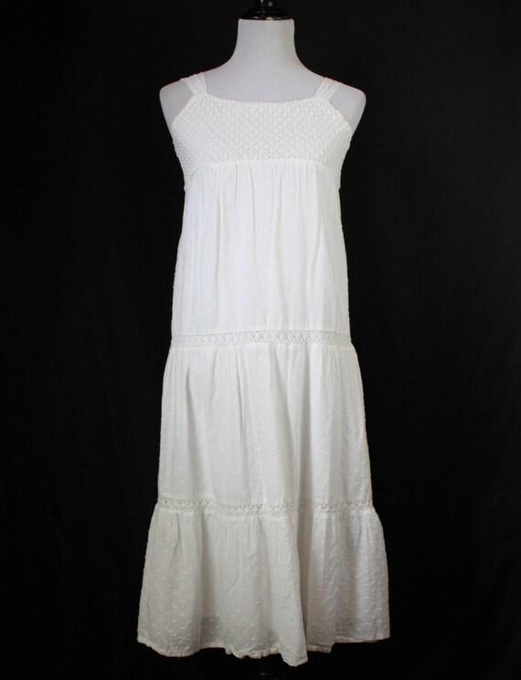Women's Vintage White Swiss Dot Babydoll Dress - X