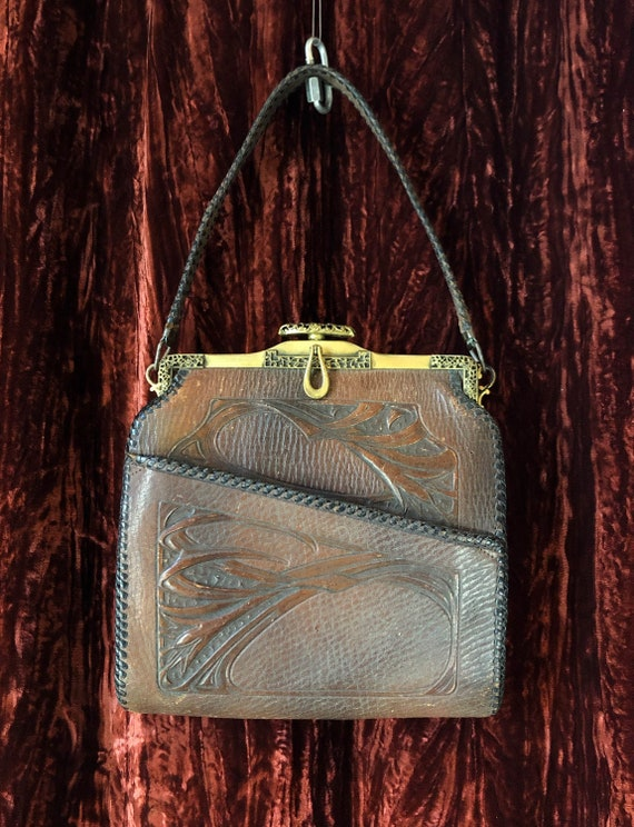 Vintage 30's Brown Tooled Leather Hand Bag