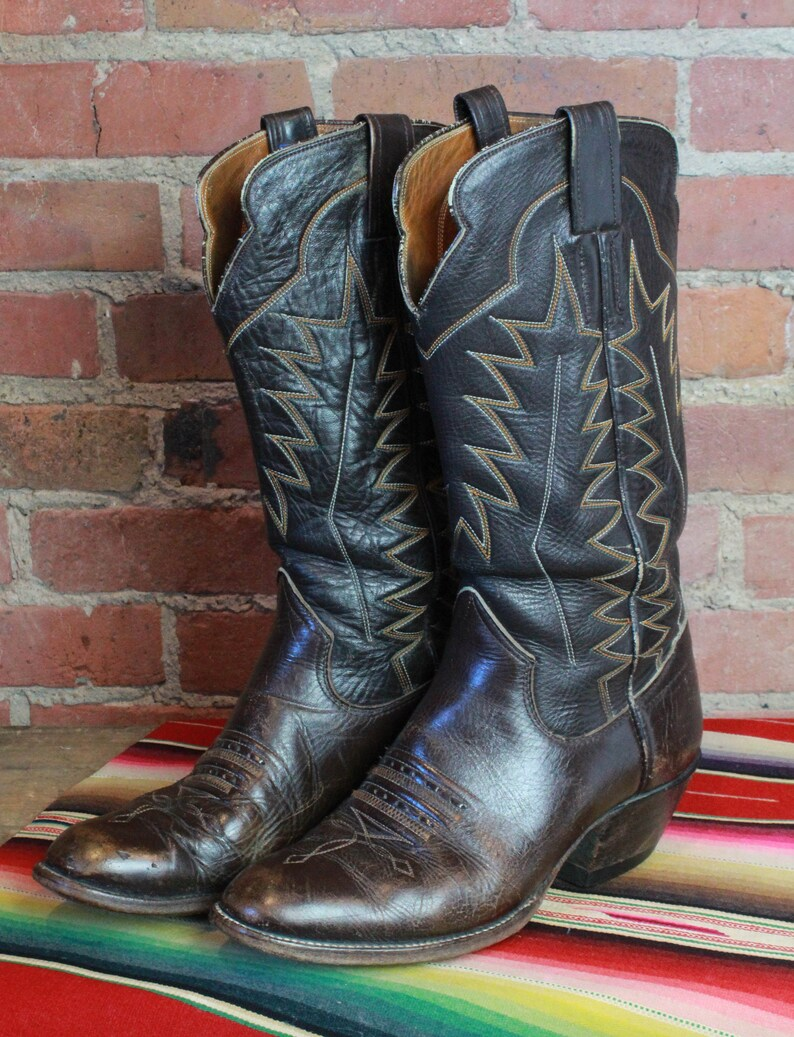 4f70768663ddb Vintage Dark Brown Leather Cowboy Boots 1960's Men's 8D Women's 10 Shoes  60's Western Country