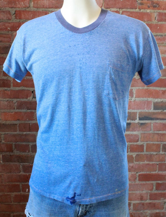 Vintage Paper Thin Blue Heathered T Shirt Unisex L