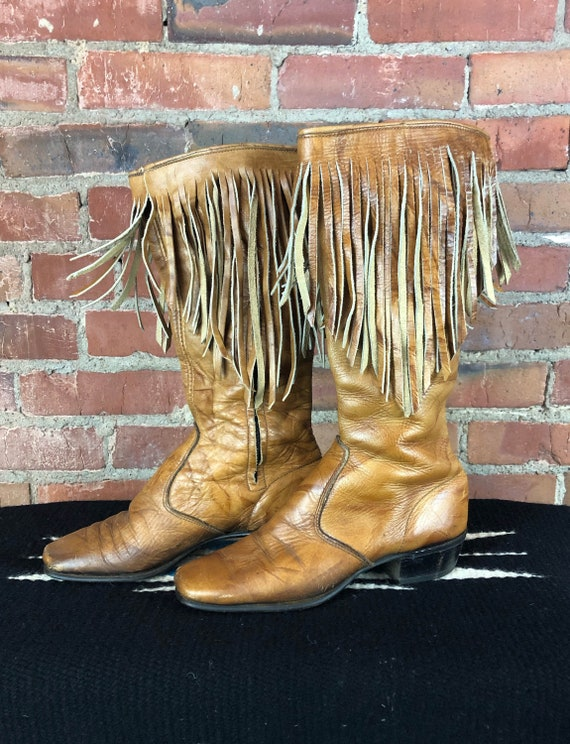 Women's Vintage 70's Brown Leather Fringe Boots -