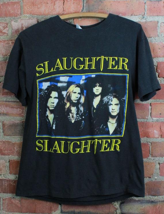 Vintage 1990 Slaughter Concert T Shirt Stick It To