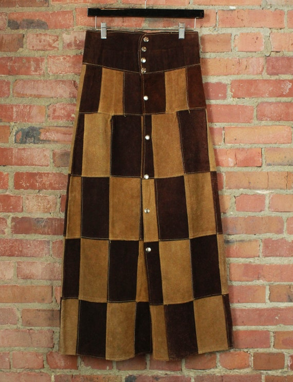 Women's Vintage 70's Brown Suede Patchwork Maxi Sk