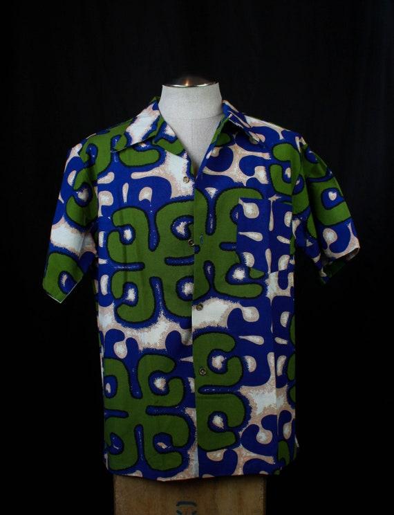 Men's Vintage 40's Aloha Hawaiian Shirt Blue Green