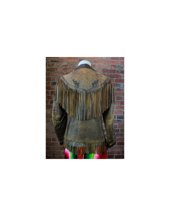 Women's Vintage 60's Leather Jacket Fringe Brown B