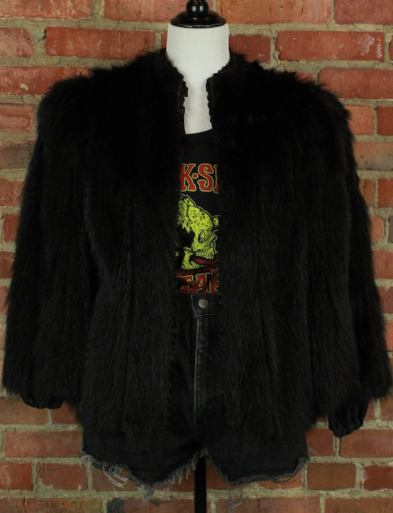 Women's Vintage 40's Black Fur Coat - Small