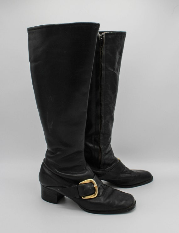 Women's Vintage 60's Mod Black Leather Go Go Boots