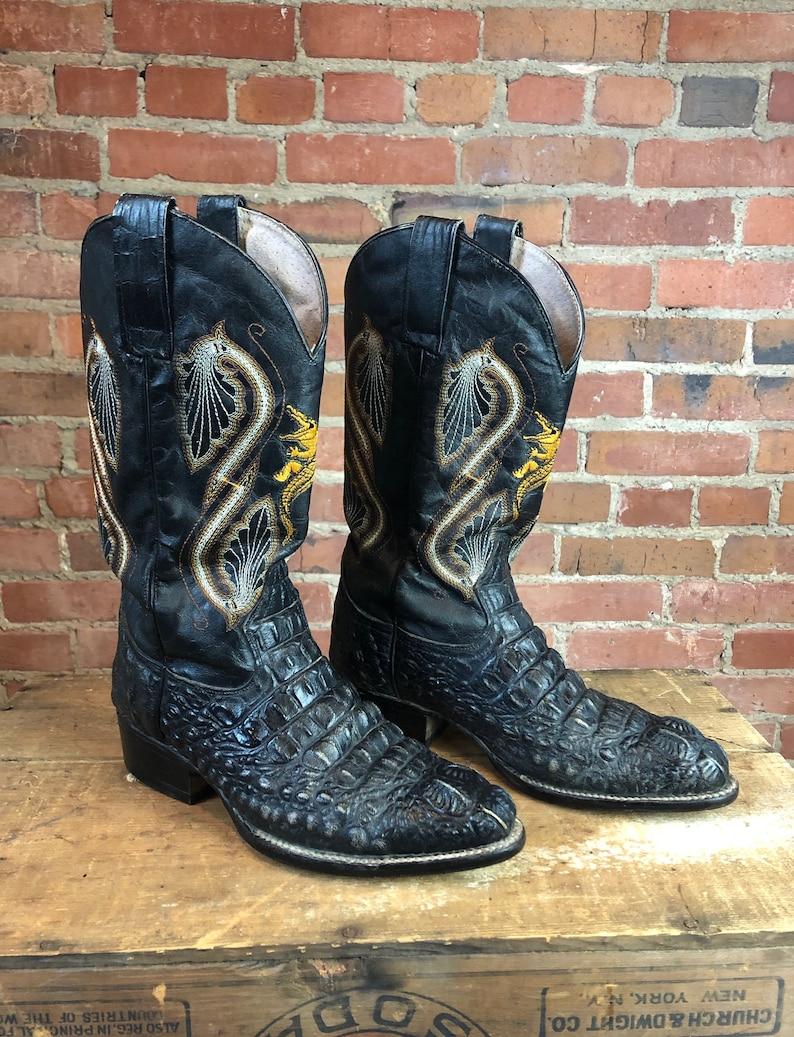 dbd5de4de40 Vintage Sheriff Alligator Cowboy Boots Men's 8 Women's 10 Western Exotic  Skins