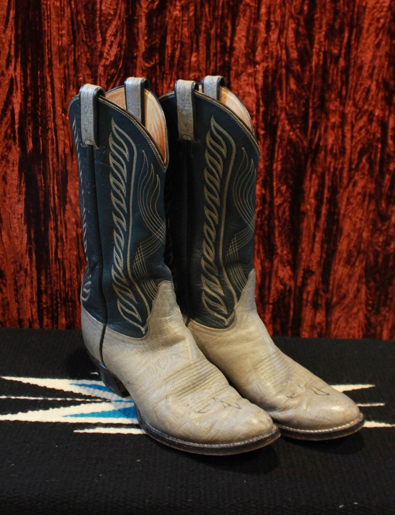 71998b404bb Men's Vintage Tony Lama Cowboy Boots Size 8.5 Country Western Grey And Navy  Boots