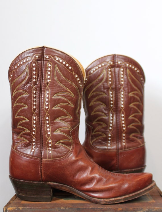 Vintage 1960s Justin Womens Western Cowboy Boots Size 9 Brown  81d02b56e