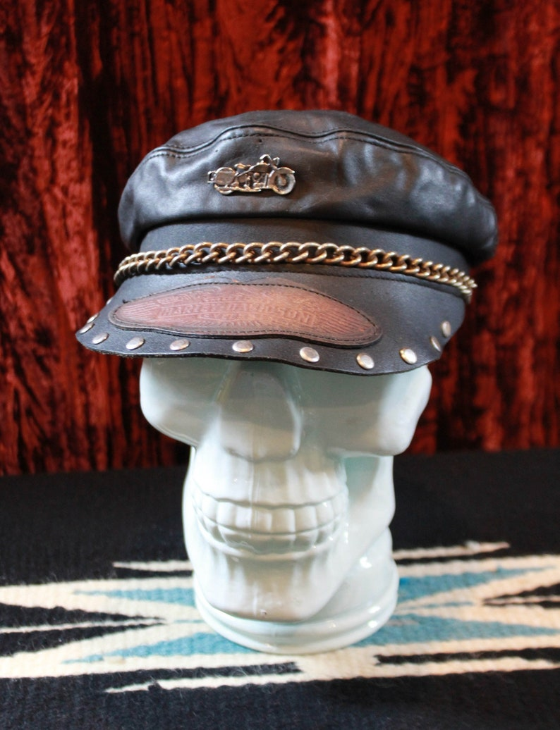 3ee4f3882 Vintage Leather Harley Davidson Captains Hat Size Small/Medium Biker  Motorcycle Chain Studded Cap