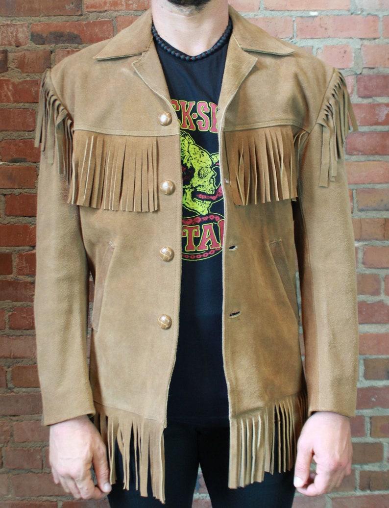 a347a39e Men's Vintage Suede Fringe Jacket 70's Size 38 Medium Western Cowboy Mexico