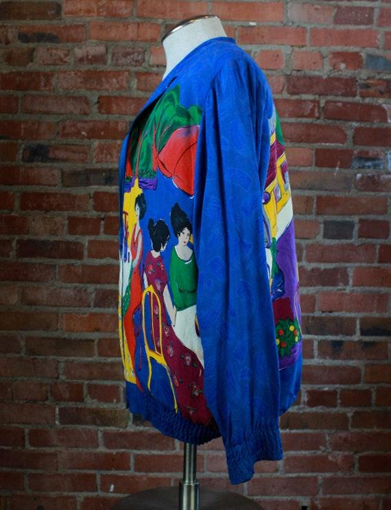 Vintage 80's Starfire Bomber Jacket Silk Rayon We… - image 5