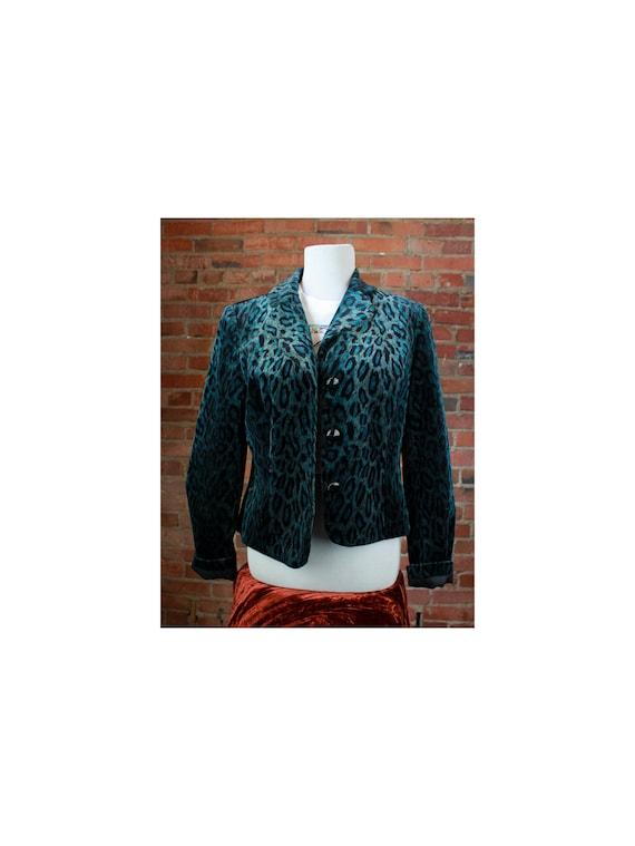 Women's Vintage 90's Teal Leopard Print Jacket Cro