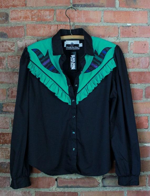 Women's Vintage 90's Ranch Western Shirt Black Gre