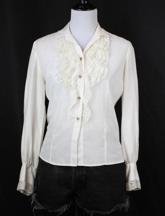 Women's Vintage White Ruffle Lace Blouse - S/M