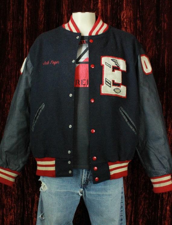 Men's Vintage 60's Black And Red Letterman Jacket