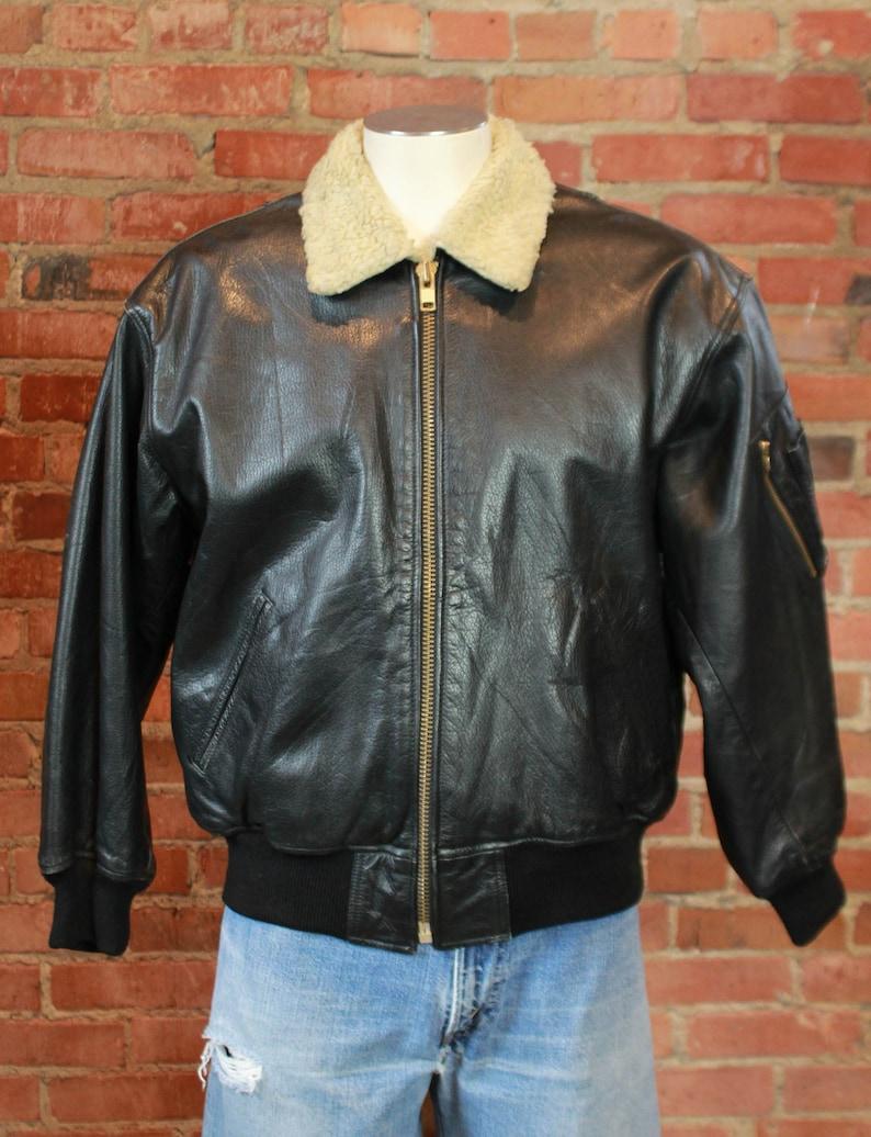 420f2eb46b9 Men's Vintage Black Leather Bomber Jacket With Sherpa | Etsy