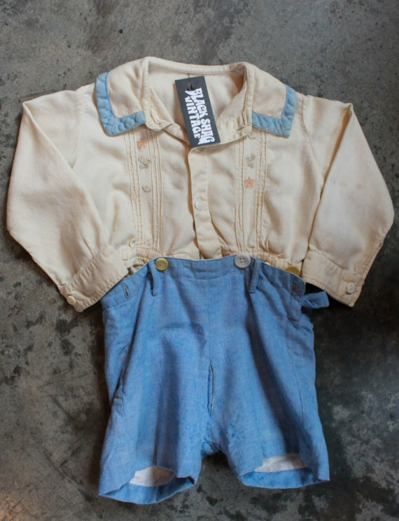 Pinafore Child/'s Outfit Toddler Size 4 Blue Butterfly Pinafore and Shorts Outfit Blue Butterflies Shorts
