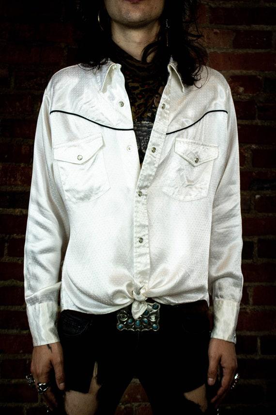 Vintage White Satin Western Shirt Medium
