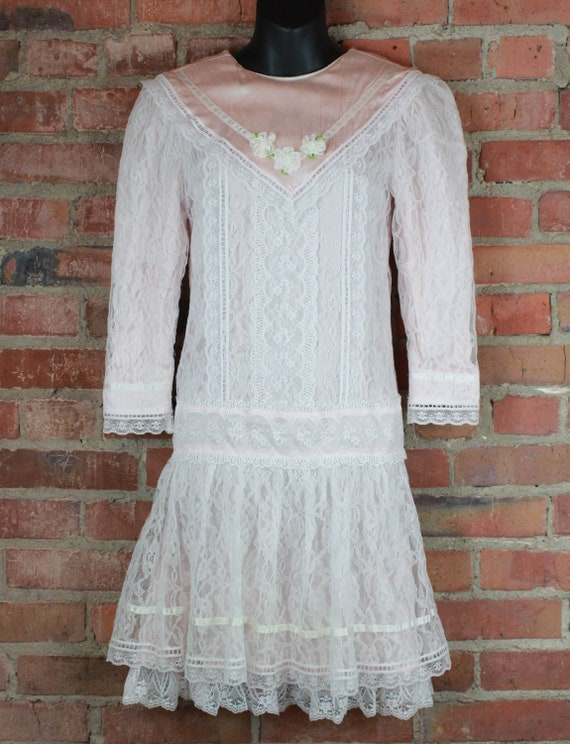 Women's Vintage 80's Gunne Sax Pink And White Lace
