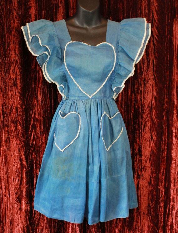 Women's Vintage 40's Blue Heart Dress Size Extra S