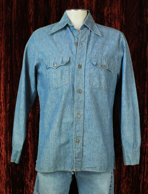 Men's Vintage 70's Levi's Denim Shirt Jac Medium