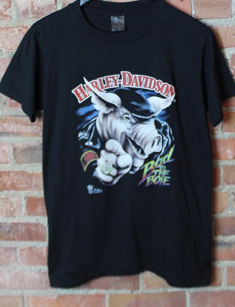 eef41bee418 Vintage Harley Davidson Bad To The Bone 1987 3D Emblem T Shirt