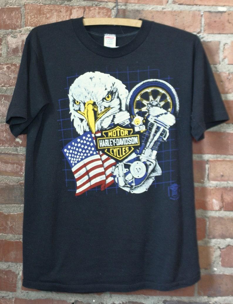 60824600 Vintage Harley Davidson Graphic T Shirt Eagle Medium 80's | Etsy