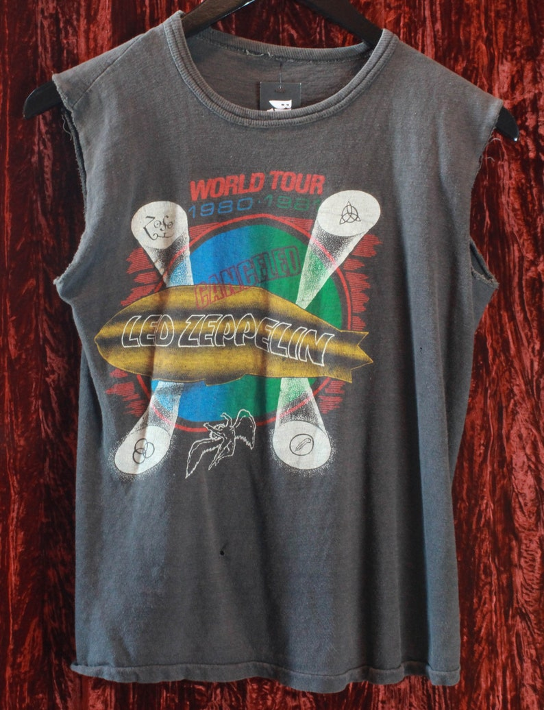 80c3f60804aa Vintage Led Zeppelin Canceled Concert T Shirt 1980-81 World   Etsy