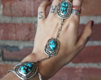 Vintage Turquoise and Sterling Silver Ring Bracelet Ring Size 7.5 70s Cuff Boho Hippie
