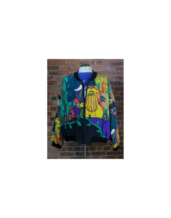 Vintage 90's Silkscapes Bomber Jacket Jungle Anima