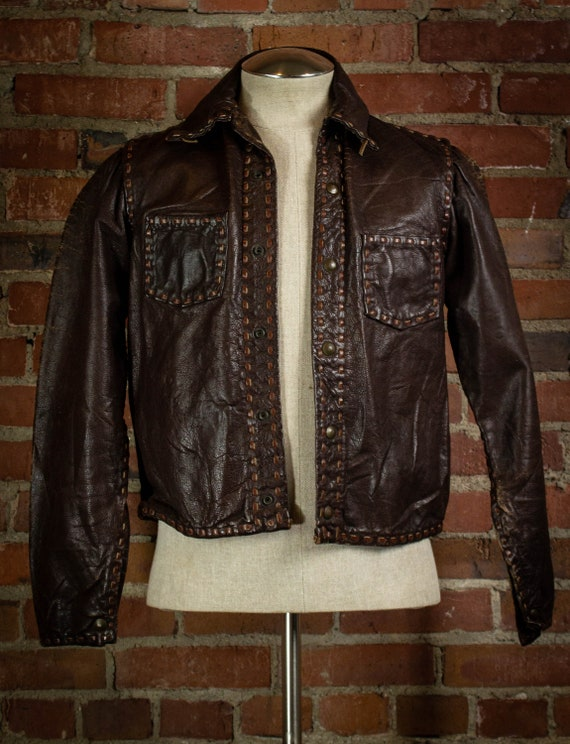 Vintage 1960's Brown Leather Top Stitch Jacket Sma