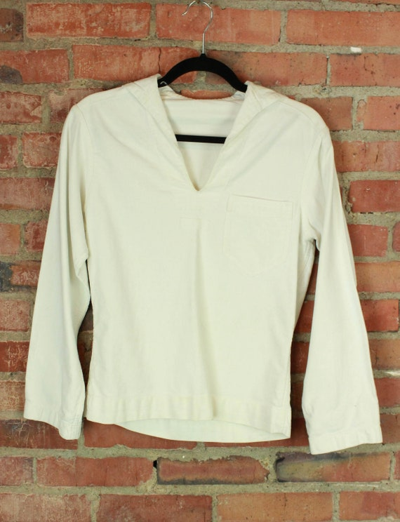 Vintage 50's White Naval Pullover - XS