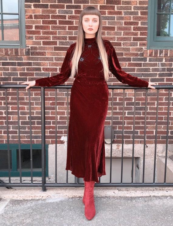 Women's Vintage 30's Red Velvet Beaded Spider Dres