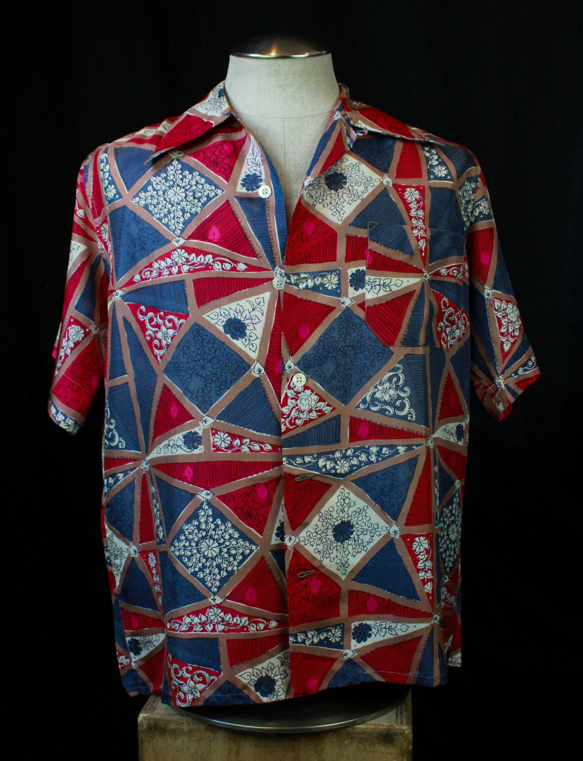 1940s Men's Shirts, Sweaters, Vests Mens Vintage 40s Bullocks Aloha Hawaiian Shirt By Thomas Medium $0.00 AT vintagedancer.com