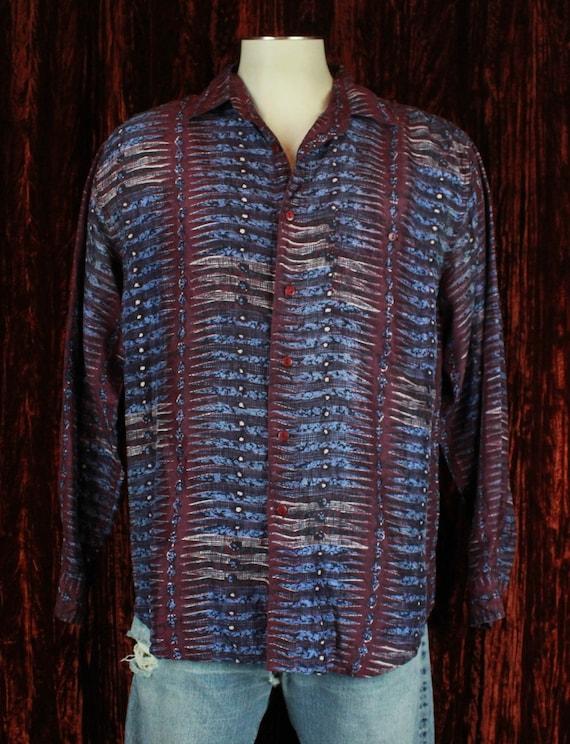 Men's Vintage 90's Purple Silk Long Sleeve Button