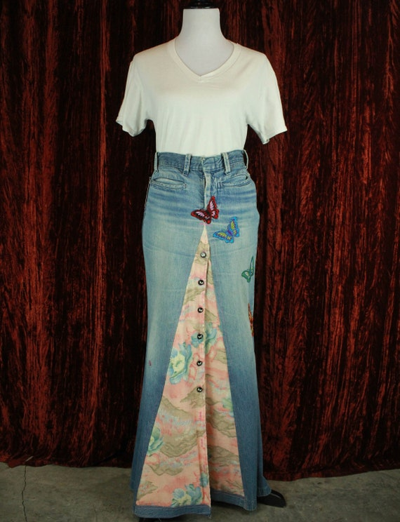 Women's Vintage 70's Patchwork Denim Butterfly Max