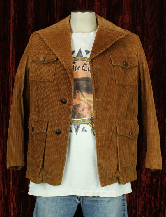 Men's Vintage 70's Campus Brown Corduroy Faux Fur