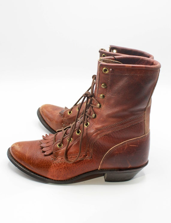 Women's Vintage 80's Roper Boots Lace Up Leather B
