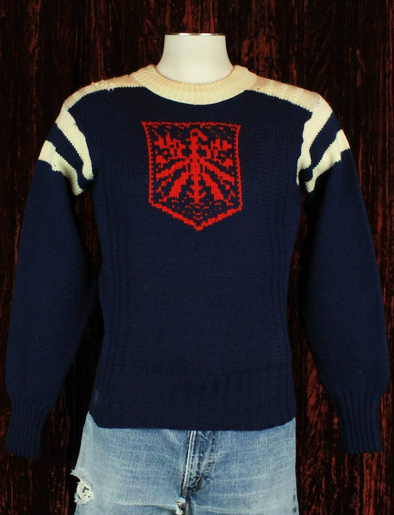Vintage 70's Navy Blue Wool Pullover Sweater - Sma