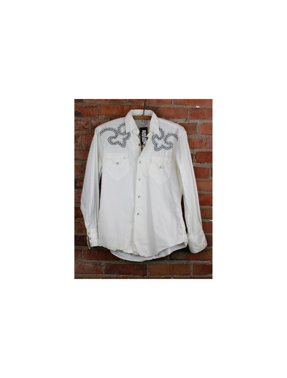 Men's Vintage 80's Western Shirt Pearl Snap Embroi