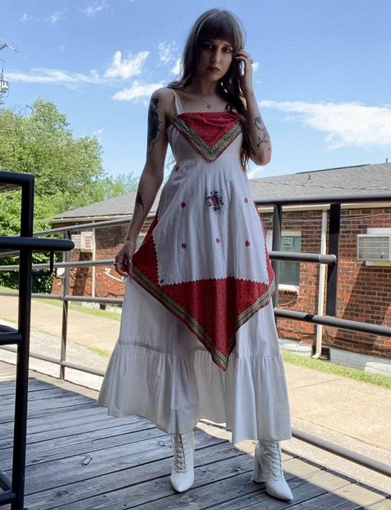 Women's Vintage 70's White Bandana Apron Dress - S