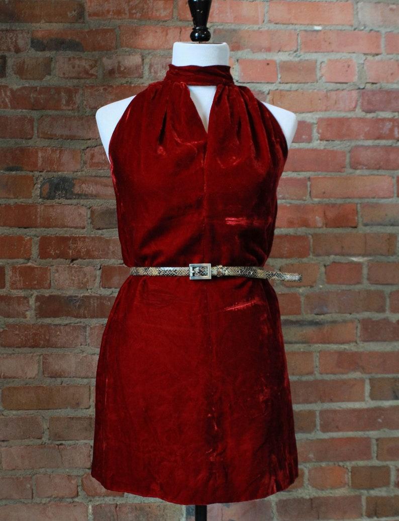 Women/'s Vintage 60/'s Red Velvet Mini Dress Small Mod Retro