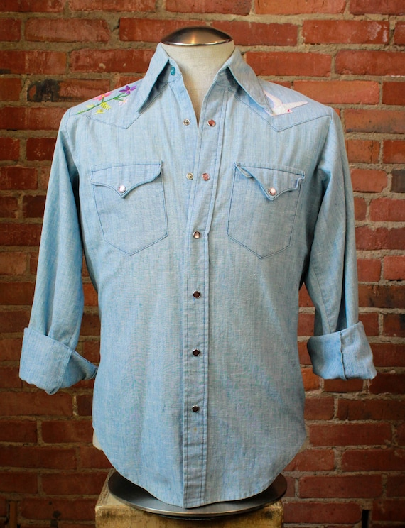Women's Vintage 70's Hand Embroidered Chambray Pea