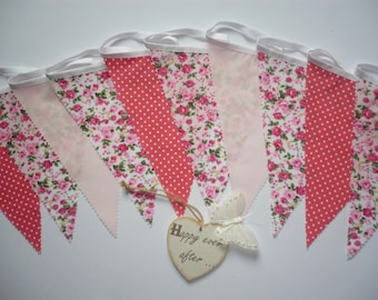 "10 Foot Lovely Pink and Coral Wedding / Celebration Fabric Bunting ""Freya"""